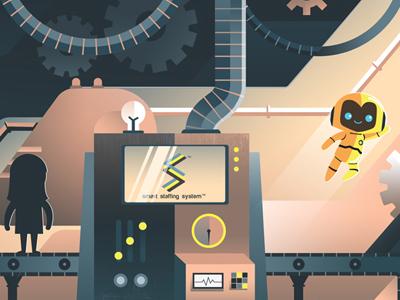 Smart Staffing System Illustration rethink staffing outsourcing robot illustration