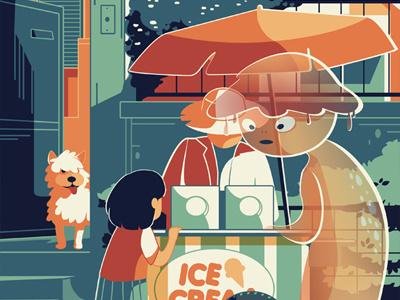 Imaginary Creature 2 karyl gil imaginary monster street vendor ice cream kid character illustration