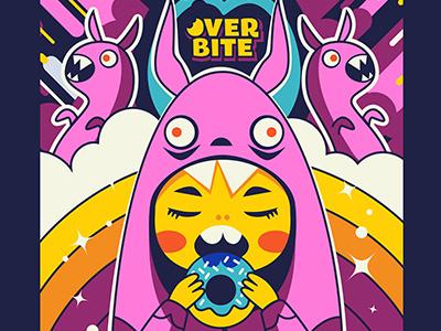 Overbite: Sourbunny 1 illustration kawaii cute digitalart rainbow rabbit bunny donut kid overbite karyl gil redbubble