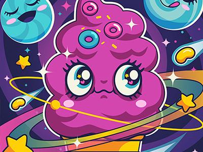 Sugar High: Cosmic Swirl karyl gil illustration cartoons retro kawaii cute sundae swirl icecream candies sugar sweets