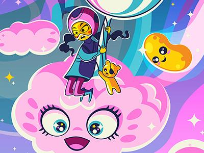 Sugar High: Space Fluff sweets sugar high candies cute kawaii cartoons illustration vector