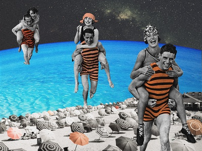 — to the beach beach vintage surrealism space retro photo manipulation photography digital collage collage art