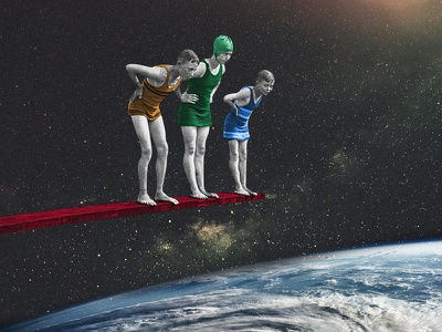 — checking the earth jump kids vintage surrealism retro photo manipulation photography digital collage collage space art