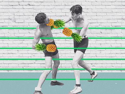 — pineapple boxers vintage retro boxing noise collage digital collage digital art photo manipulation boxers pineapple surrealism surreal