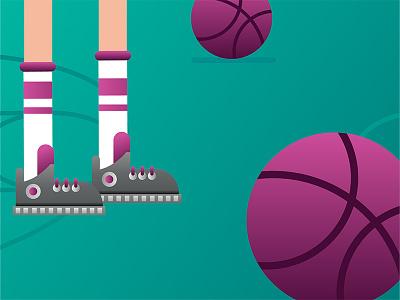 — basketball invites basket player basketball dribbble 2d debut gradient competition invites illustration invitation