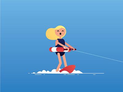 — wakeboarding illustration gradient summer watersports lifesaver character girl wakesurf wakeboarding