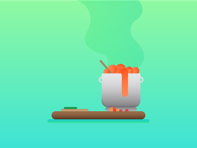 — what's cooking? design soup cutting board steam pot food friday simple illustration graphic design gradient cooking