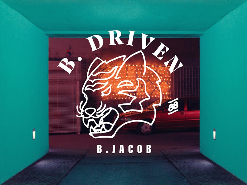 B.Driven driven drive tiger cat lettering illustration typography