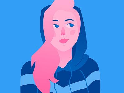 Illustration exploration female profile vector illustration