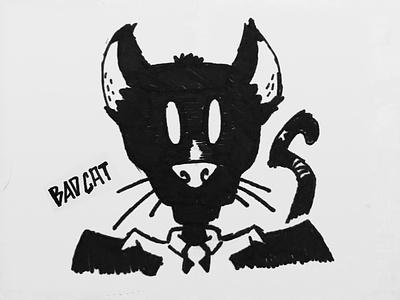 Bad Cat marker cat black cat sketches illustration