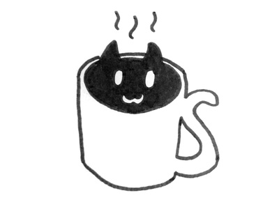 Coffee cat simple coffee cat sketches illustration