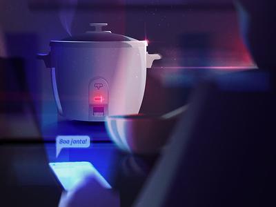 Gohan Cooker japanese food cooker gohan light concept color vector illustration