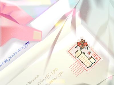 Garrafa Térmica japanese style stamp letter light concept vector illustration