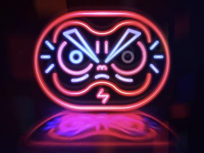 Decoração daruma neon design character design color light concept vector illustration