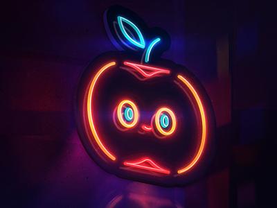Fruta Cortada apple japan japanese food neon design character design color light concept vector illustration