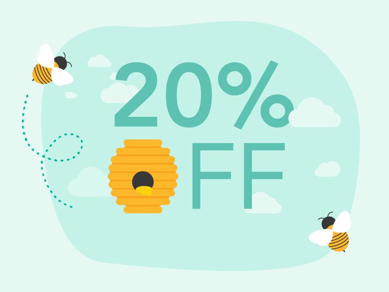 A buzzworthy deal vector bees promo illustration