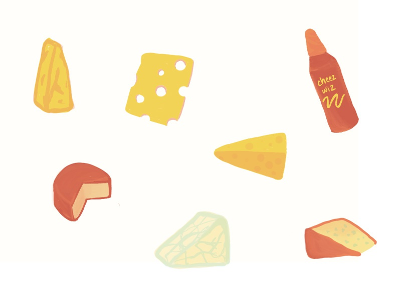 Sweet dreams are made of cheese. procreate hand drawn cheese illustration