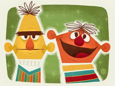 Best Buds at 123 Sesame! vintage television muppets ernie bert sesame street friends buddies kid art art show illustration character design