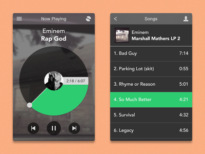 Music Player ui ux music player iphone ios