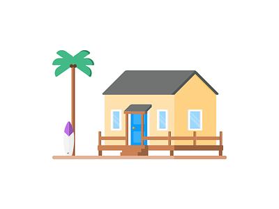 Beach House Illustration illustration home house beach