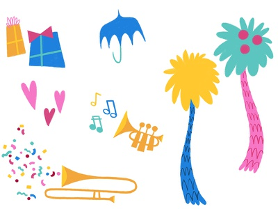 Freckleland Video Art confetti freckleland music trombone trumpet hearts presents umbrella dr. seuss trees illustration