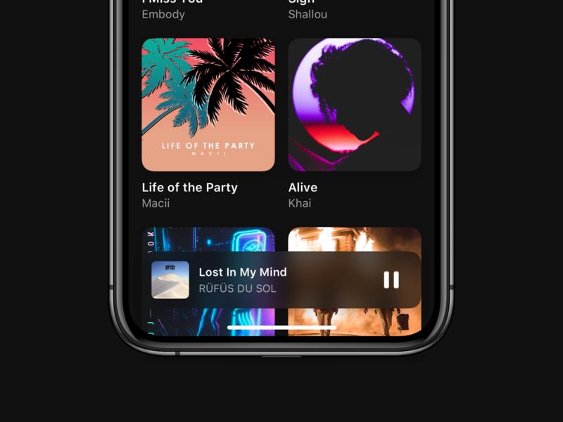 iOS Music App design system spotify apple music ios 13 iphonexs iphone ios 12 ios now playing music album music art music minimal dark mode