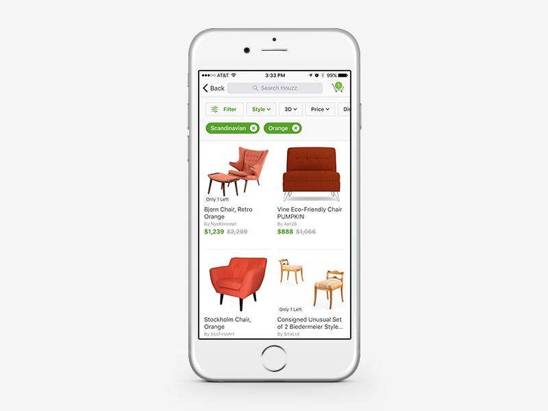 Houzz Shop Filters for iOS ui. mobile product design houzz home decor ios design