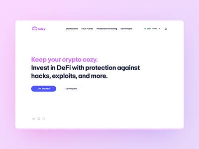 Cozy Homepage Web Design web 3.0 defi crypto branding web design ui