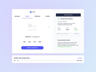 Cozy Protected Investment Input Modal web 3.0 defi ux crypto design ui