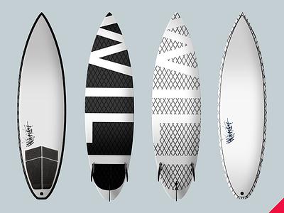 "WILD ""Ricochet"" Black/White Shortboards  mockup product design sports surf surfboard"