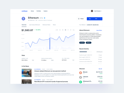 Crypto Page Concept concept ui finance bitcoin ethereum cryptocurrency crypto