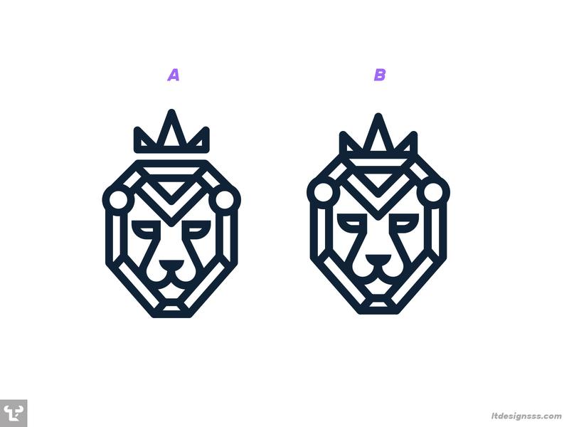 Leo logomark lionking crown lion king symbol creative illustration flat illustration icon mark logo fancy geometric flat design simple shapes logommark