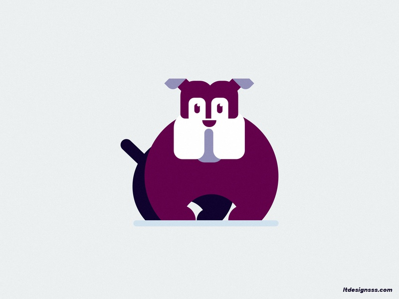 Bulldog flat art cute designer cartoon cartoony art visual art geometric geometric shapes simple shapes character logo icon mascot flat flat design dog bulldog mark