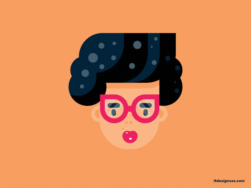 She's a Lady! cartoony illustration cartoon illustration character design retro rockabilly vintage 20s hair style hair curls woman design flat atwork flat art flat girl lady character flat design