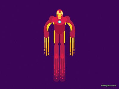 Iron Man (take 2) drawing artist art character illustration characters illustration design flat design flying cartoony cartoon character design avengers character flat colours flat flat art logo mascot iron man