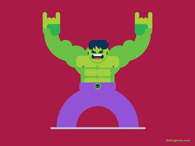 Hulk( take 2 ) flat art geometric geometric shapes flat design character character cartoon cartoony drawing mascot icon simple shapes cute avengers rock rocker flat colours flat design flat design hulk