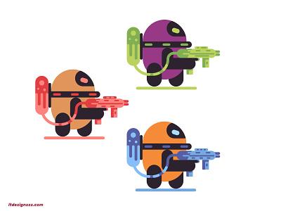 Droids vector logo bold design flat design character character illustrations illustration mark icons gun droid robot flat flat design mascot droids robots