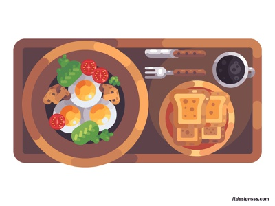 Veggie Breakfast daily illustration rustic plate bread design vector illustration art illustration design vegetarian breakfast vegetarian salad eggs coffee coffee cup 2d illustrations flat art flat design brekfast illustration