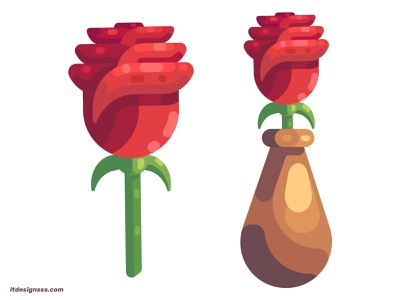 Rose and Vase design illustrations vector colours 2d red red rose details simple shapes shapes art flat flat designs illustration art roses flat art flat design vase illustration rose