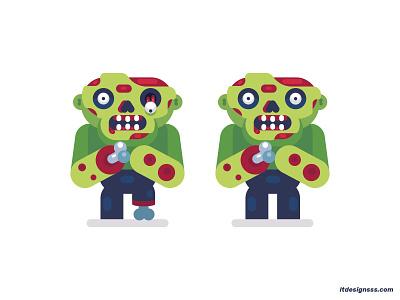 Zombies. flat  design illustrations flat illustration cute dead zombies mascot logo vector illustration design gamedev game chracaters game design 2d characters flat characters flat art flat design illustration