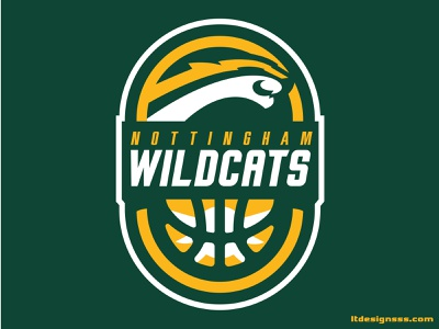 Nottingham Wildcats Basketball branding bold sports branding sports identity sports design identity mascot sports logo nottingham basketball illustrations flat design flat logo wildcats illustration logo sports