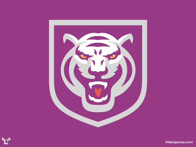 Tiger Badge (2) white tiger tiger sports logo design mascot sports logos flat design illustration vector badge mark logo sports branding sports identity sports design sports logo cats tigers