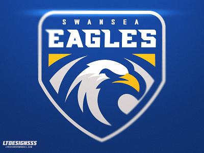 Swansea Eagles branding brand identity sportsdesign sport sportslogo sportsbranding agressive bold shield badge graphicdesign designer design swansea eagles mascot logo esports sports