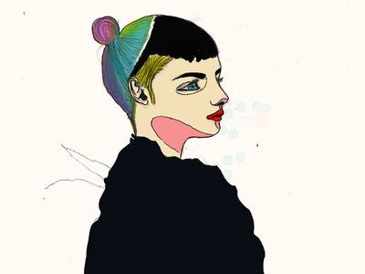 Grimes profile illustration draw oleo hair colors tb grimes