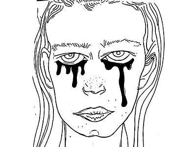 👅 line black girl ink illustration adobe create