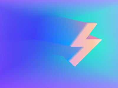 3D Ray 3d icon blend colors gradient design geometry
