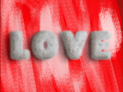 L o v e typography phrase word texture furry love 3d type