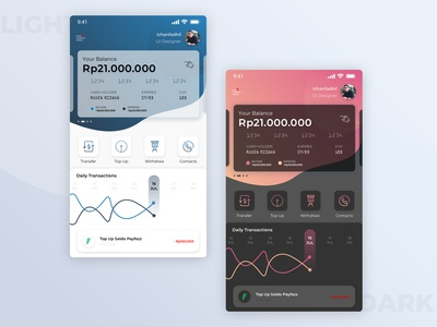 Mobile Banking Light and Dark Concept.
