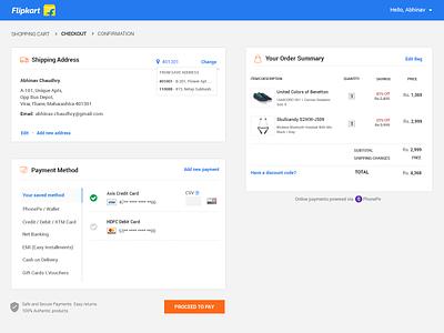 Flipkart Checkout Flow Revamp minimalist layout revamp ideas e-commerce checkout flipkart