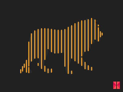 Animals painted with lines - 2 illustrator animals reflection lines flat design